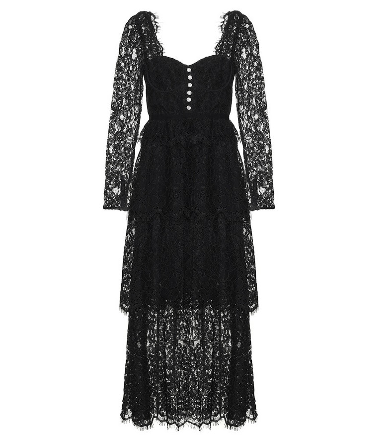 Self-Portrait Cotton-blend lace midi dress in black