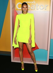 dress,cape dress,cape,yellow,yellow dress,chanel iman,model,mini dress