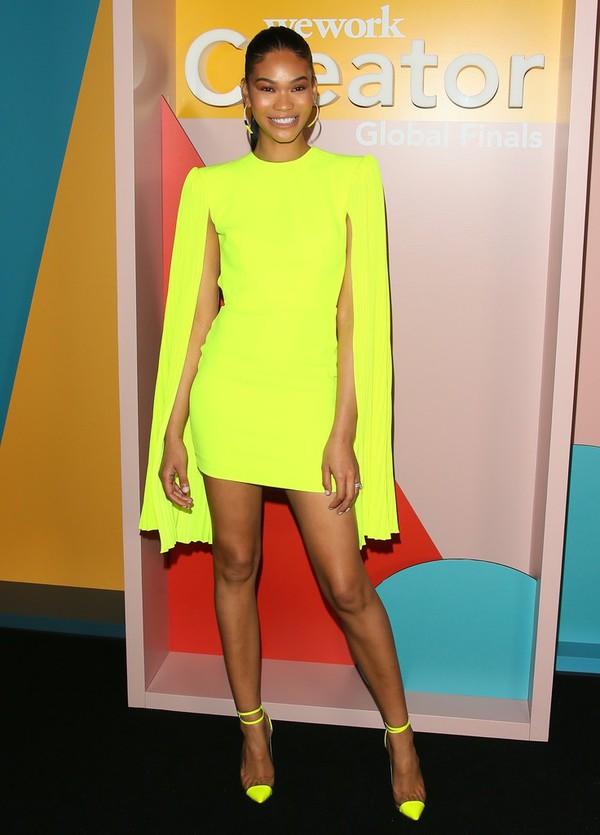 dress cape dress cape yellow yellow dress chanel iman model mini dress