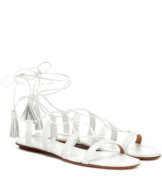 Aquazzura Stromboli leather sandals in white