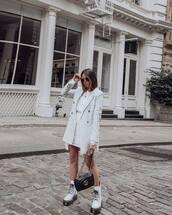 sweater,blazer,double breasted,mango,white dress,mini dress,white boots,platform lace up boots,gucci bag,black bag