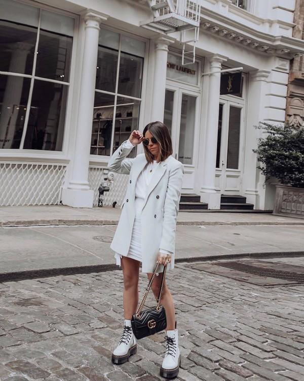 sweater blazer double breasted mango white dress mini dress white boots platform lace up boots gucci bag black bag