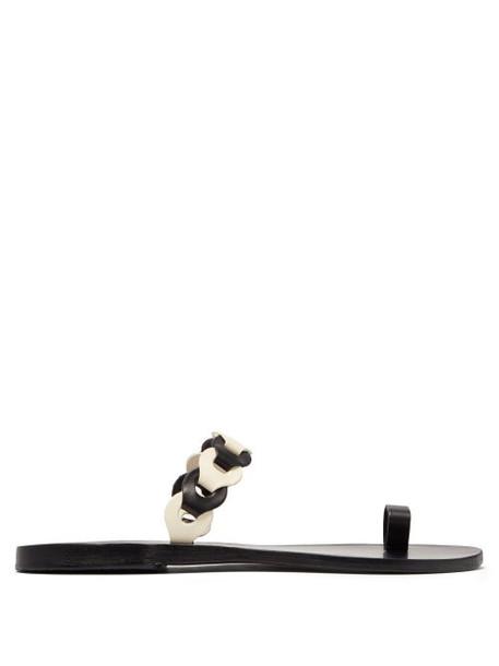 Ancient Greek Sandals - Thalia Braided Leather Slides - Womens - Black White