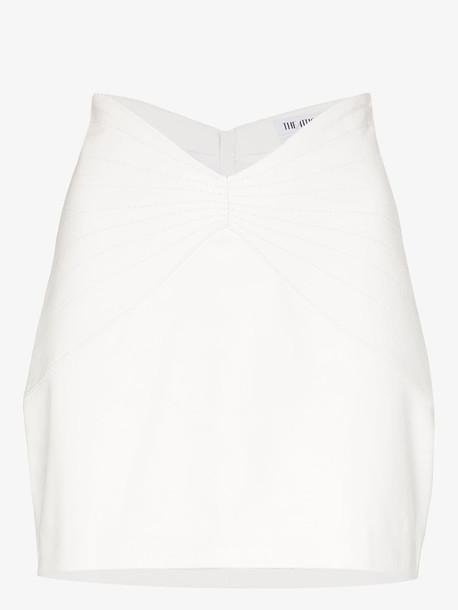 Attico V-cut waist leather mini skirt in white