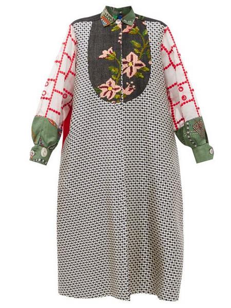 Rianna + Nina Rianna + Nina - Kendima Patchworked-cotton Coat - Womens - Multi