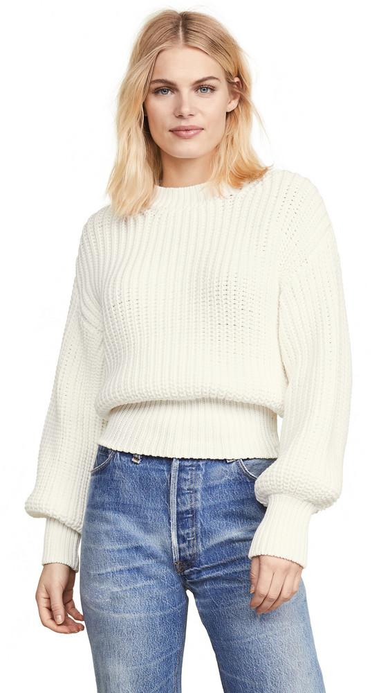 NUDE Round Neck Sweater in white