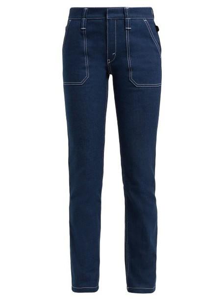 Chloé Chloé - Contrast Stitch Jeans - Womens - Dark Blue