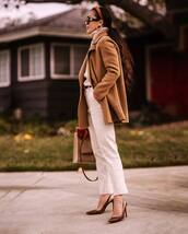 coat,wool coat,brown coat,slingbacks,white pants,straight pants,high waisted pants,shoulder bag,turtleneck sweater,headband