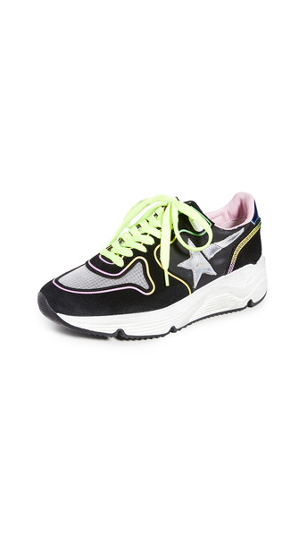 Golden Goose Running Sole Sneakers in black / blue / silver