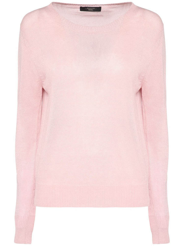 WEEKEND MAX MARA Ribbed Linen Crewneck Sweater in pink