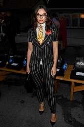 top,black,stripes,camila mendes,celebrity,pants