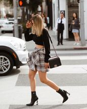 shoes,black boots,ankle boots,mini skirt,crop tops