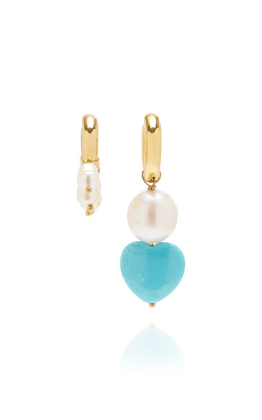Timeless Pearly Howlite Heart And Pearl Mismatched Earrings in blue