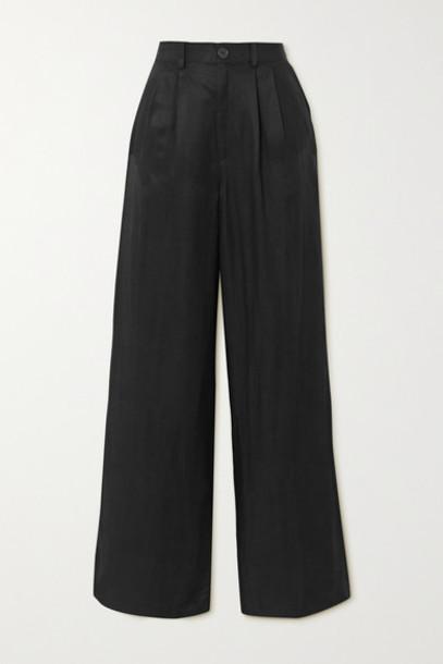 Anine Bing - Carla Pleated Twill Wide-leg Pants - Black