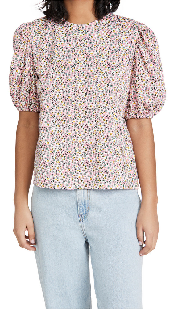 ENGLISH FACTORY Floral Puff Sleeve T-Shirt in pink / multi