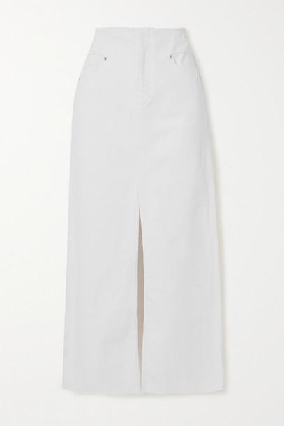 FRAME - Frayed Stretch-denim Maxi Skirt - White
