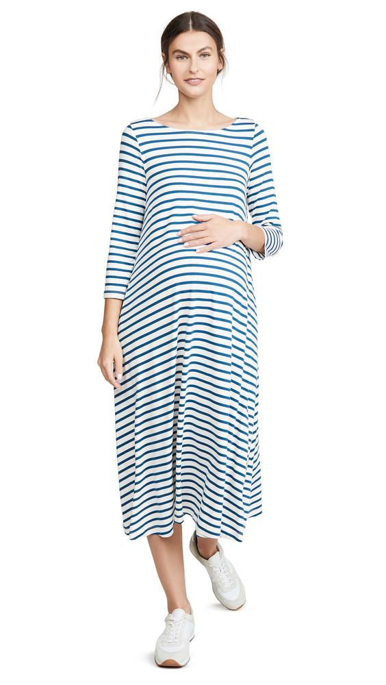 HATCH The Marina Dress in blue / ivory