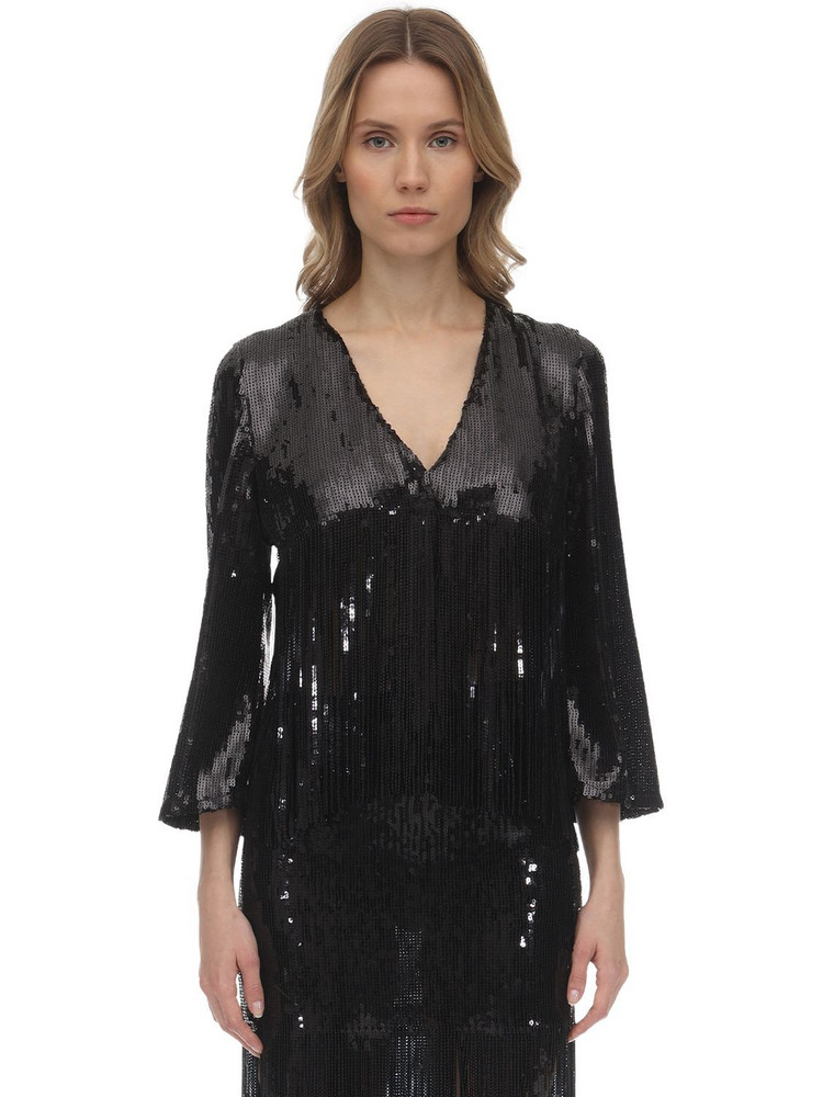 L'AUTRE CHOSE Sequins Cropped Jacket W/ Fringes in black