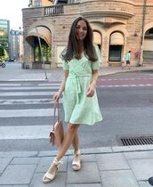 dress,green dress,mini dress,espadrilles,bag
