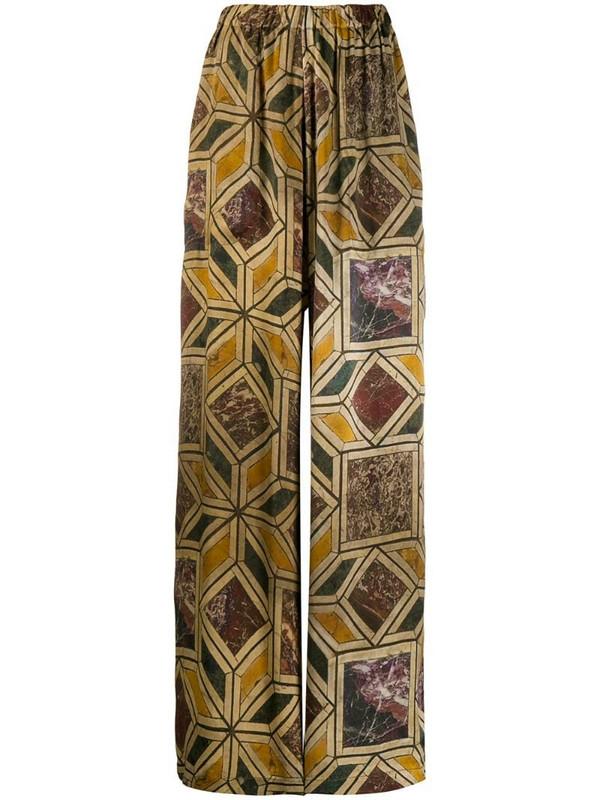 Uma Wang geometric marble print trousers in neutrals