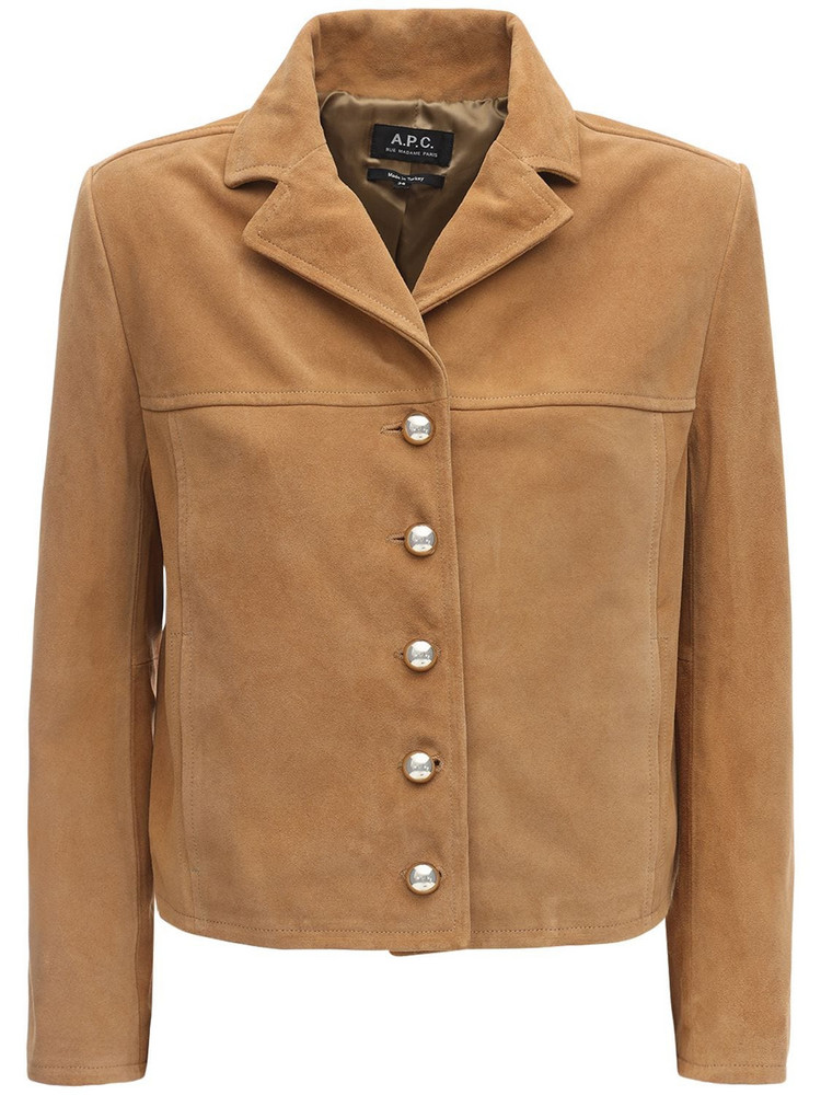 A.P.C. Cropped Suede Jacket in camel