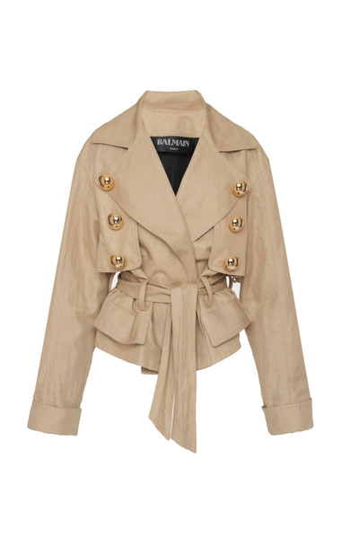 Balmain Belted Cotton-Linen Canvas Jacket in neutral