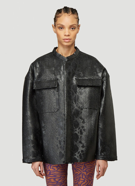 Maisie Wilen Embossed Faux-Leather Jacket in Black size One Size