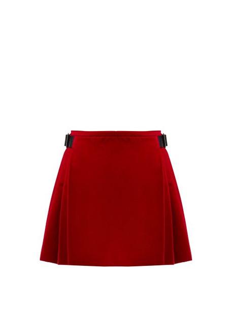 Christopher Kane - Crystal Embellished Cotton Blend Velvet Skirt - Womens - Red