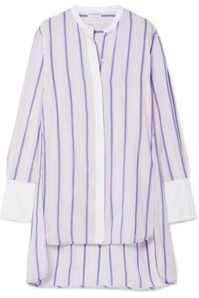 By Malene Birger - Micki Oversized Poplin-trimmed Striped Cotton-blend Voile Tunic - Pastel pink