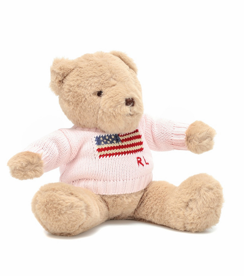 Polo Ralph Lauren Kids Small Flag Jumper Polo teddy bear in pink