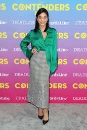 top,blouse,shirt,green,skirt,midi skirt,vanessa hudgens,celebrity