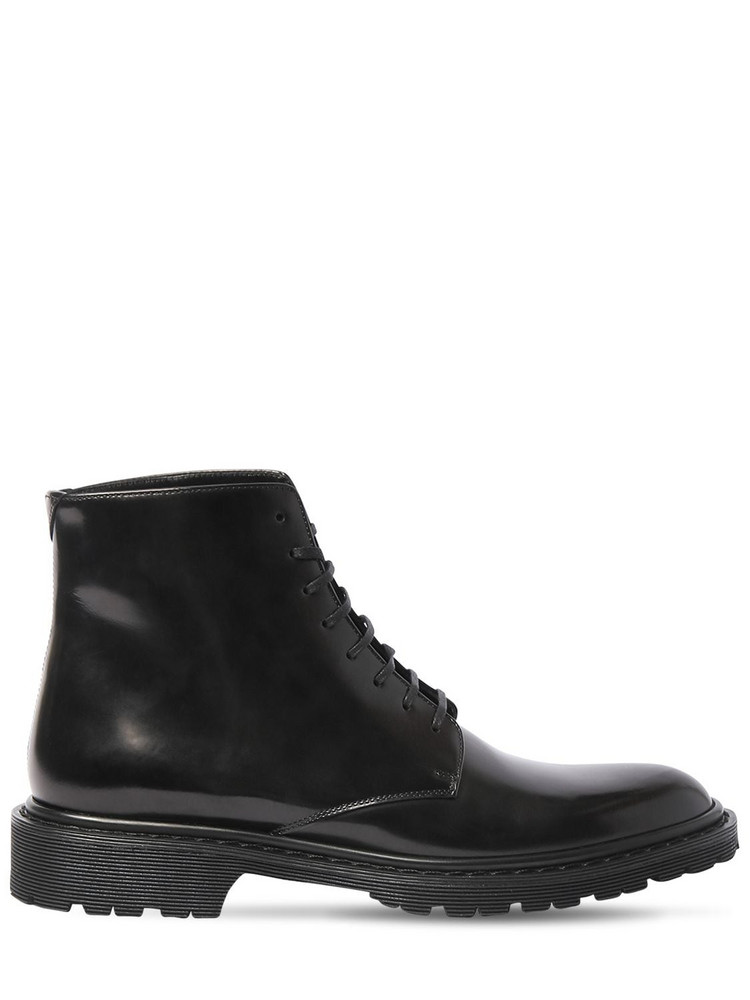 SAINT LAURENT 30mm Army Brushed Leather Boots in black