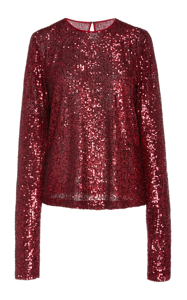 Naeem Khan Sequined Blouse Size: 2 in red