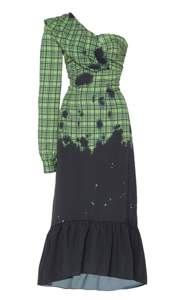 Rokh Cold-Shoulder Gingham Print Jersey Dress Size: 34 in green