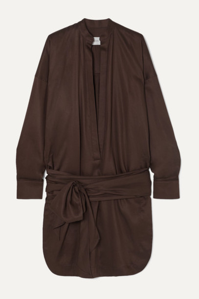 BONDI BORN - Tie-detailed Lyocell Mini Dress - Dark brown