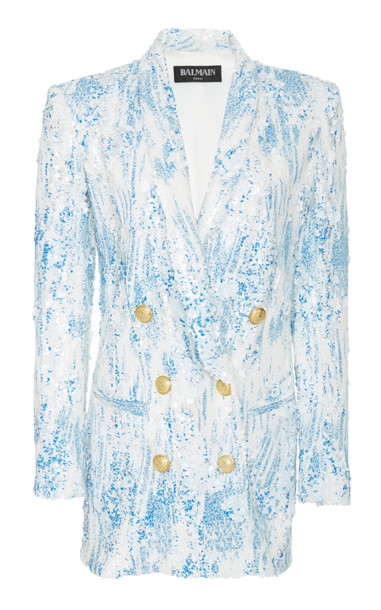 Balmain Degrade Sequin Jacket Dress Size: 36 in white