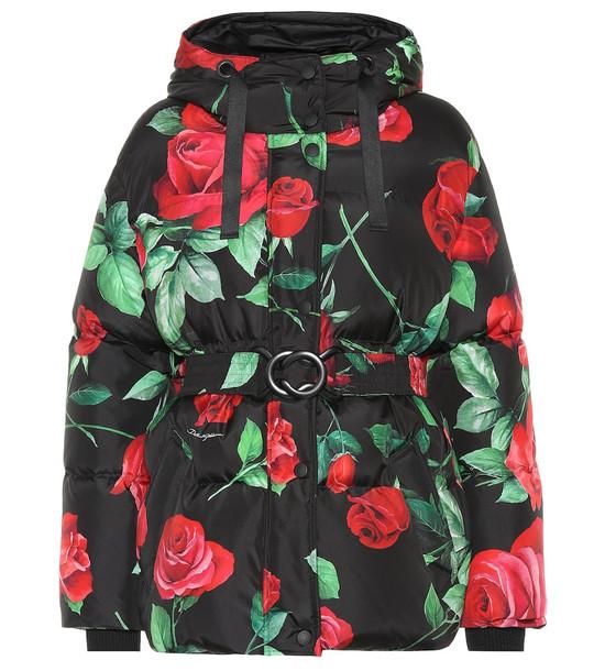 Dolce & Gabbana Rose-print coat in black