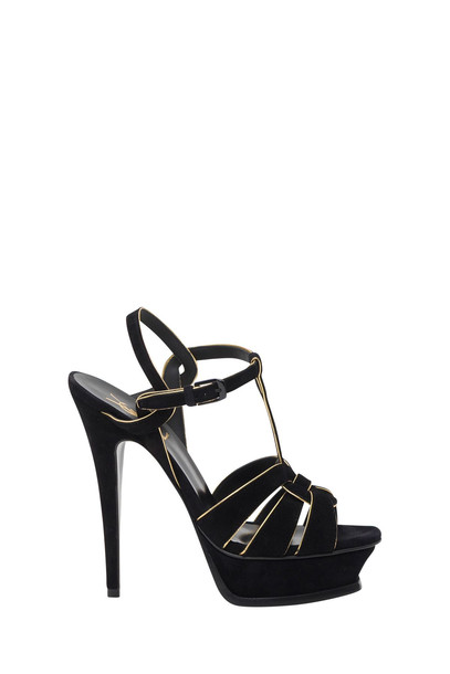 Saint Laurent Tribute 105 Sandals In Suede With Golden Piping in nero