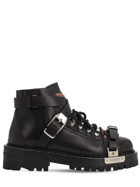 VERSACE 25mm Biker Leather Ankle Boots in black