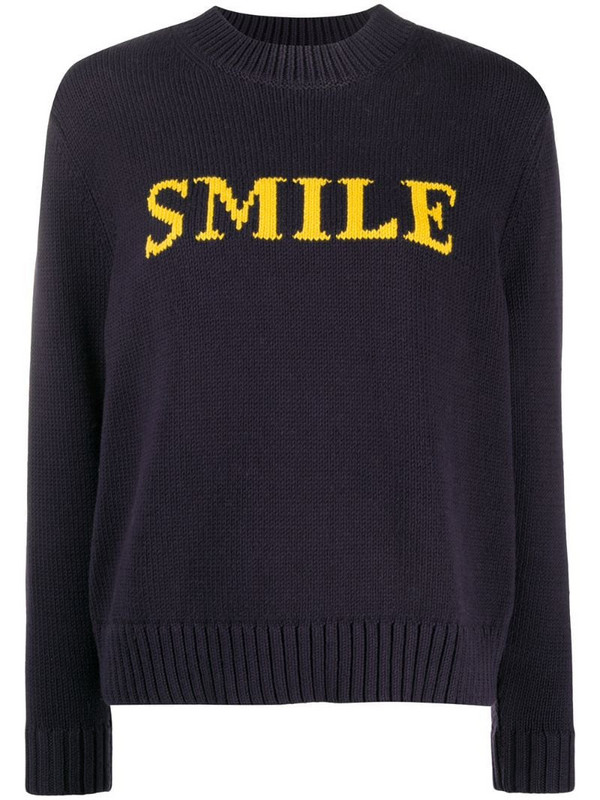 Chinti and Parker knitted slogan jumper in blue