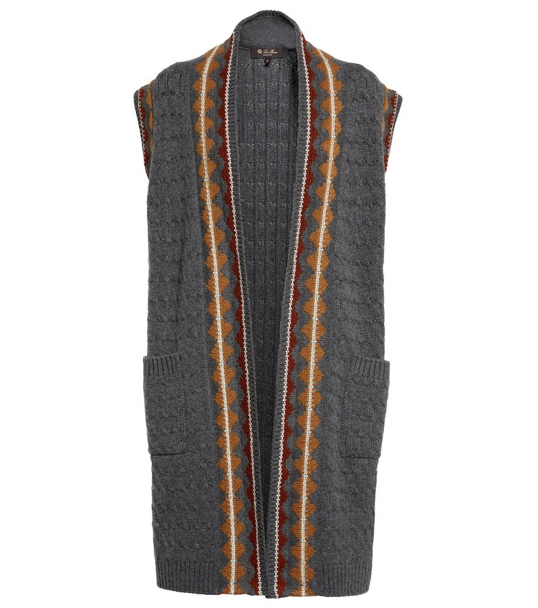 Loro Piana Eufrasia intarsia cashmere vest in grey