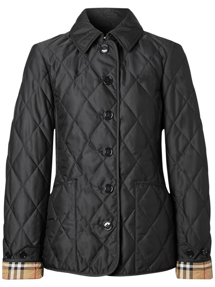 BURBERRY Fernleigh Nylon Buttoned Quilted Jacket in black
