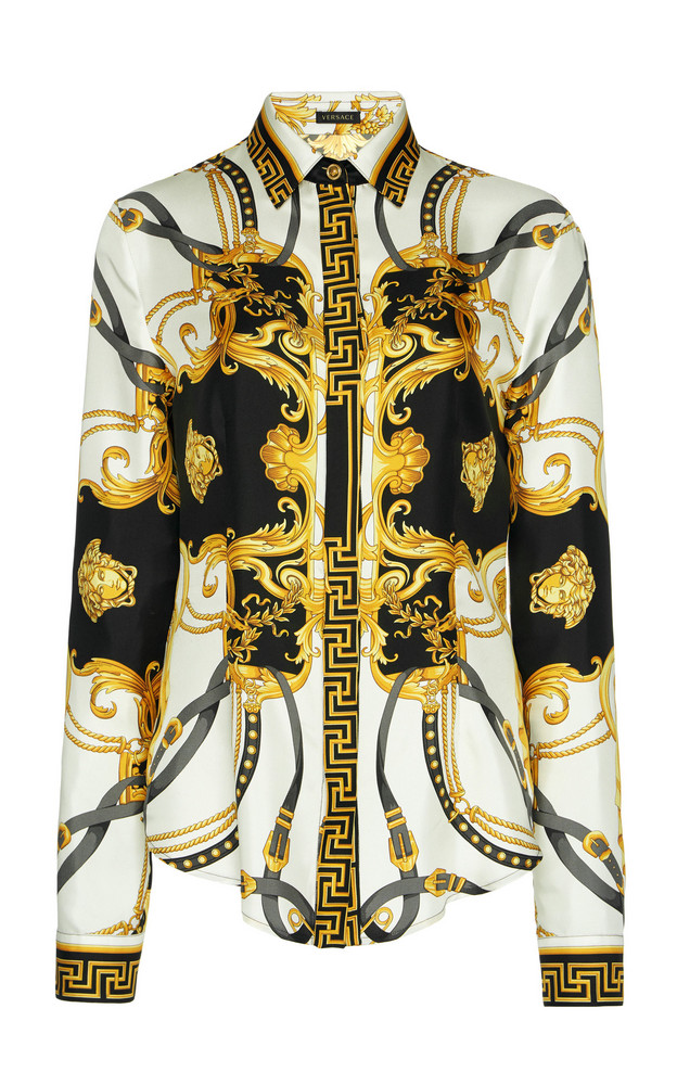 Versace Printed Silk-Satin Shirt Size: 36 in print
