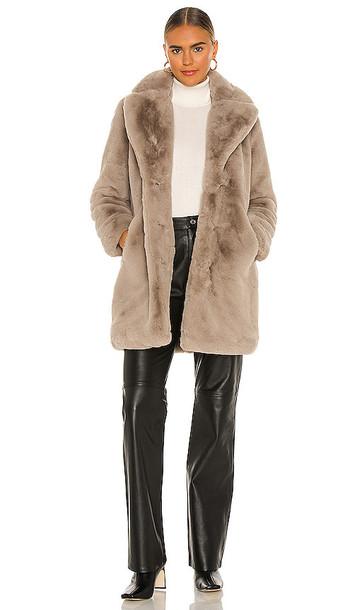 Apparis Sasha Faux Fur Coat in Grey in taupe