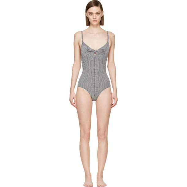 Lisa Marie Fernandez Black and White Seersucker Poppy Swimsuit