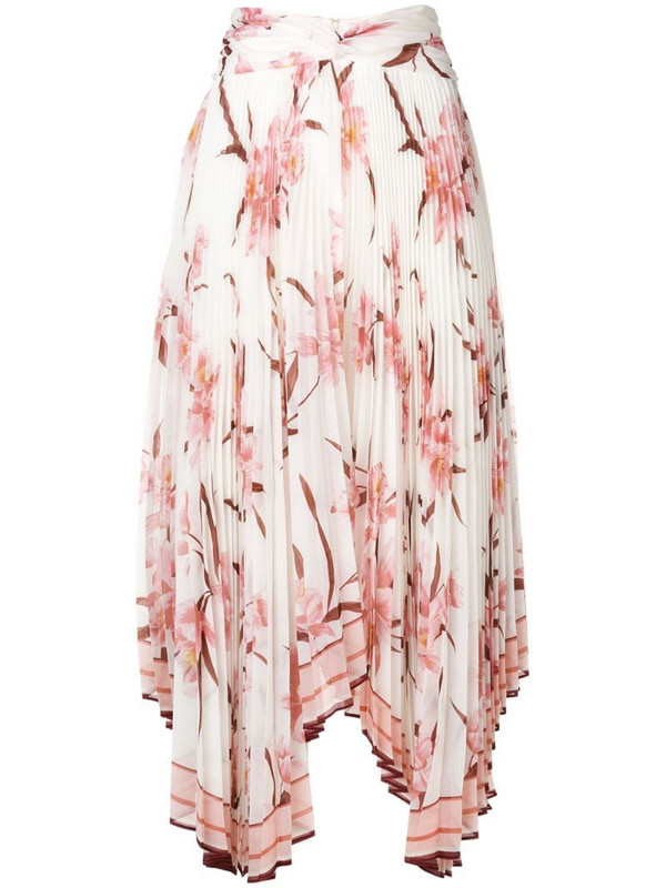 Zimmermann orchid print pleated asymmetric skirt in white