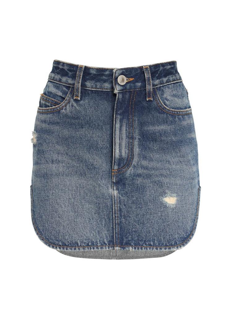 THE ATTICO Distressed Cotton Denim Mini Skirt