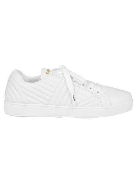 Prada Quilted Sneakers in white