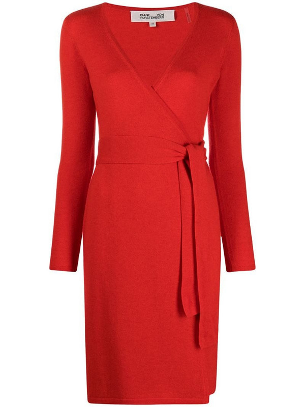 DVF Diane von Furstenberg V-neck knitted midi dress in red