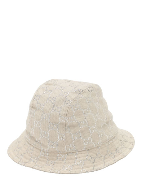 GUCCI Gg Wool Lamé Bucket Hat in white